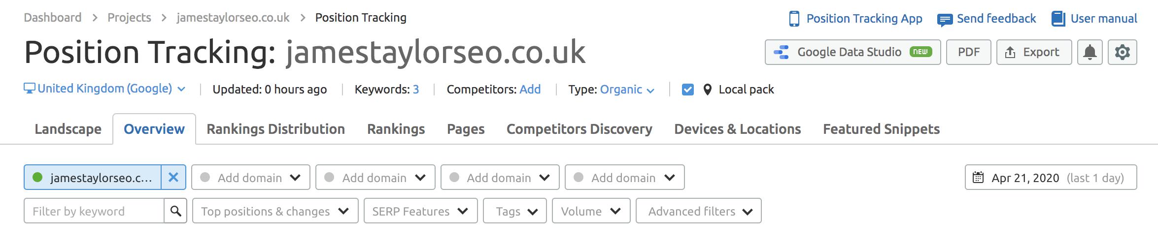 Keyword Tracking Dashboard Top Image